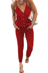 Red Buttoned V Neck Sleeveless Jumpsuit