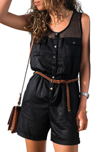 Black Yoke Buttoned Playsuit with Pockets
