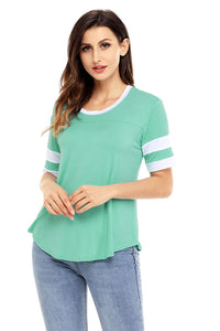 Mint Short Sleeve Top with White Stripe