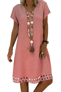Pink Short Sleeve V Neck A-Line Casual Shirt Dress