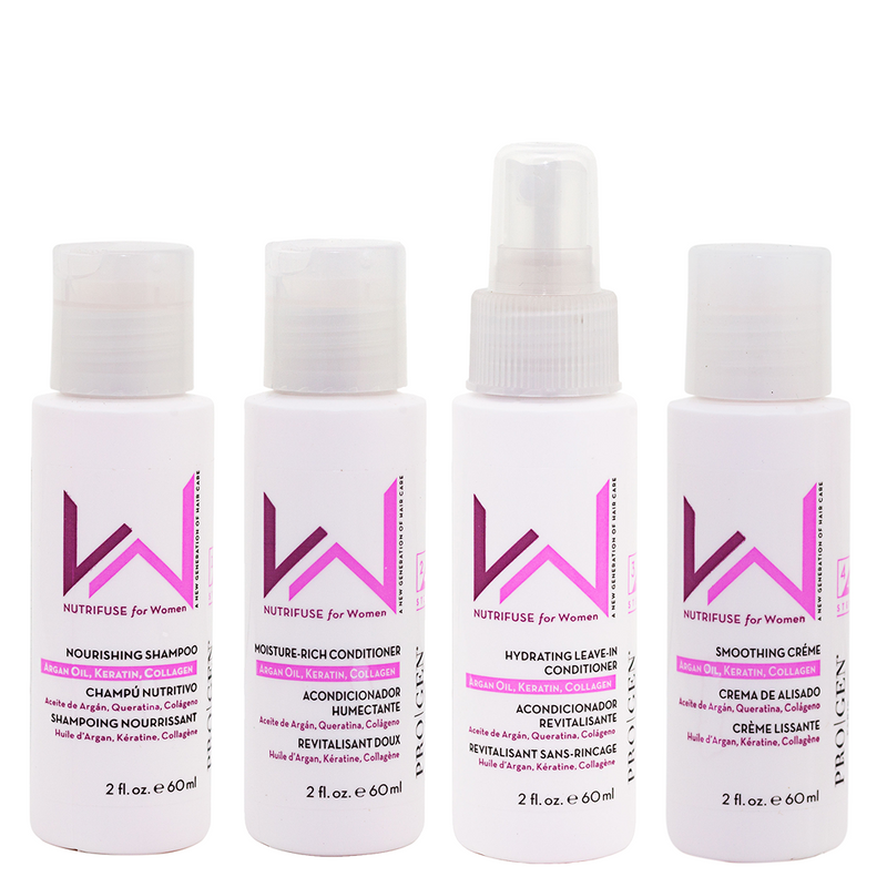 Women's travel kit with all four men's products in 2oz bottles