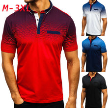 Load image into Gallery viewer, Mens Gradient Golf Tennis Shirt 2019 Mens Turn-Down Collar Shirts Plus Size 3XL Cotton Short Sleeve Tee Tops