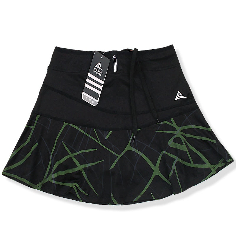 Women's Sports Tennis Skort Short Badminton Skirt with Safety Shorts Striped Tennis Skirt