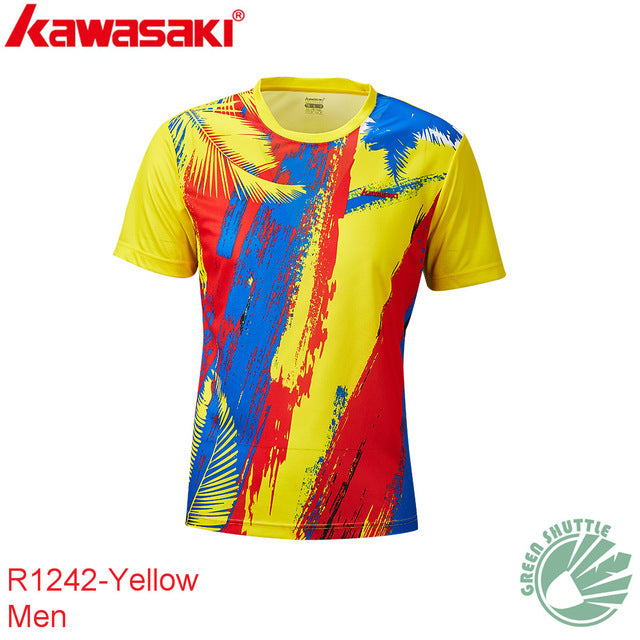 Genuine 2020 New Kawasaki ST-R1243 R1229 100% Polyester Badminton T-shirt For Men And Women  Moisture Wicking badminton shirt