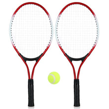 Load image into Gallery viewer, 2Pcs Kids Outdoor Sports Tennis Racket String Tennis Racquets with 1 Tennis Ball and Cover Bag Good Training Kit for Kid