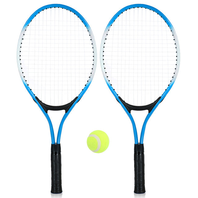 2Pcs Kids Outdoor Sports Tennis Racket String Tennis Racquets with 1 Tennis Ball and Cover Bag Good Training Kit for Kid