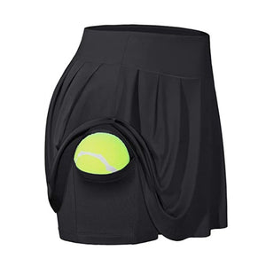 High Waist Gym Yoga Skirt Anti Exposure Tennis Skirts Fitness Running Skorts Women Quick Drying Sport Skirt Pocket Gymwear 2020