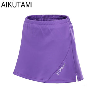 New Breathable Quick Dry Tennis Skorts Women Anti-emptied Elastic Waist Skort Sport Pantskirt Badminton Workout Tennis Skirt