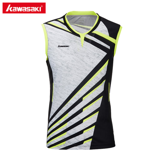 2020 Kawasaki Brand Men Clothes Sports Shirt V-Neck Sleeveless Breathable Badminton Shirt Tennis T-shirts For Male ST-T1014