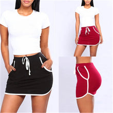 Load image into Gallery viewer, Anti Exposure Stripe Drawstring Sports Skirt