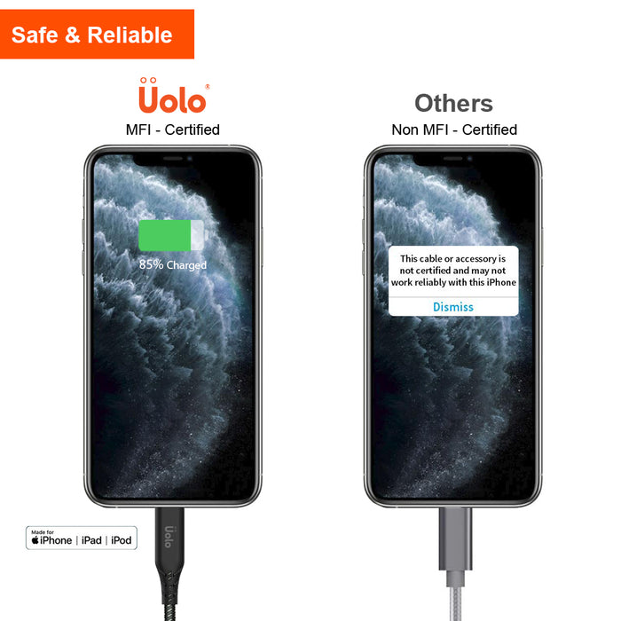 Uolo Link 2m Braided USB C to Lightning Charge & Sync Cable