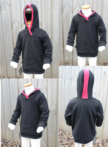 SALE  Winter Weight Merino Hoodie Black & Pink
