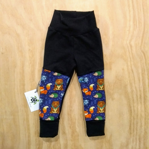 Grow With Me** Woodland Creatures LARGE 1-3 Years **  Moto Patch Pants **