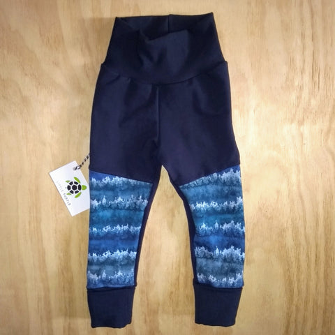 Grow With Me**Navy Forest  LARGE 1-3 Years **  Moto Patch Pants **