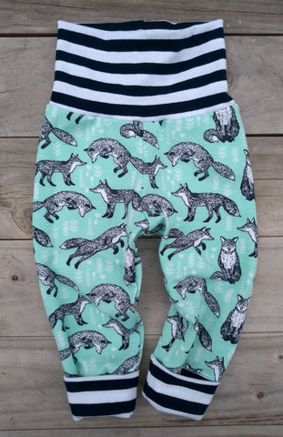 Grow With Me Pants Foxes SMALL 0-6m