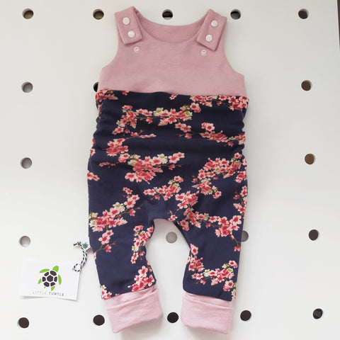 Navy & Pink Floral  * Grow With Me* Romper Medium