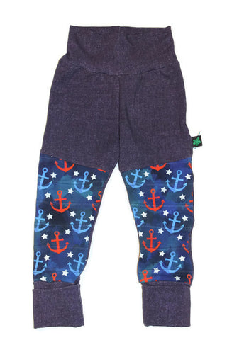 SALE Grow With Me** Anchors LARGE 1-3 Years **  Moto Patch Pants **