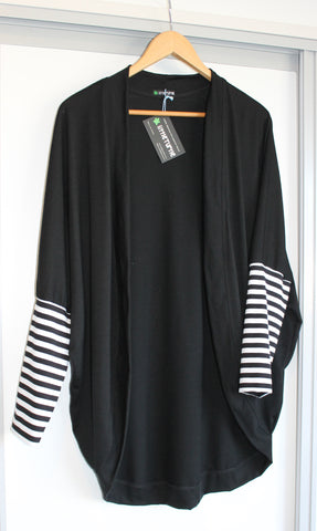 Woman's Stylee Merino Cardi Black Stripes