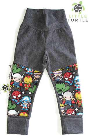 Grow With Me** Denim Avengers LARGE 1-3 Years **  Moto Patch Pants **