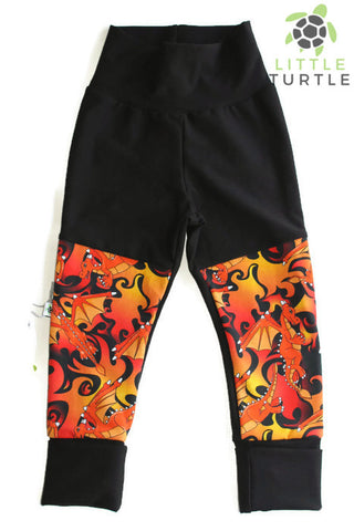 ** Grow With Me** Dragons   LARGE 1-3 Years **  Moto Patch Pants **