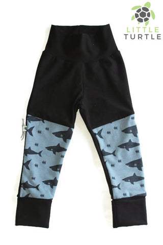 Grow With Me** Sharks LARGE 1-3 Years **  Moto Patch Pants **