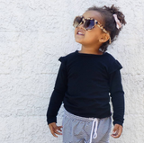 Children's Black Merino Base Layer Top with Flutters