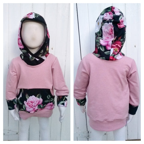 Grow With Me Hoodie ** Pink Floral * Sz L 1-3 yrs