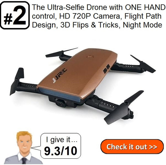 #2. The Ultra-Selfie Drone with ONE HAND control, HD 720P Camera, Flight Path Design, 3D Flips & Tricks, Night Mode (ON SALE)
