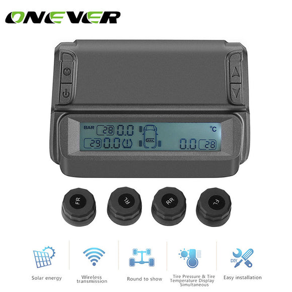 Onever Solar Power Wireless Car Tire Pressure Alarm Monitor System TPMS Temperature Alarm LCD Display with Car 4 External Sensor