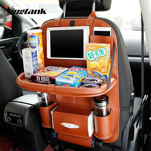 Vingtank Lunxury Leather Car Back Seat Organizer Pockets Folding Backseat Hanging holder Storage Bags Car Tissue Bag Auto