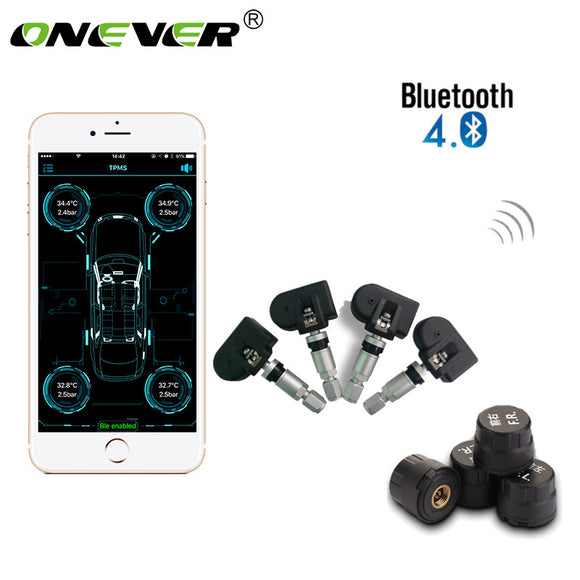 Onever Car Tire Pressure Alarm Monitoring System TPMS Bluetooth 4.0 Display 4 Internal/External Sensors Support Android IOS