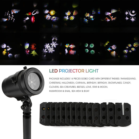 Waterproof LED Projector Light Lawn Light Wall Light with 14 Kinds od Patterns Star Ghost Snowflake Heart Leaf for Xmas Birthday New Year Halloween Party Indoor and Outdoor
