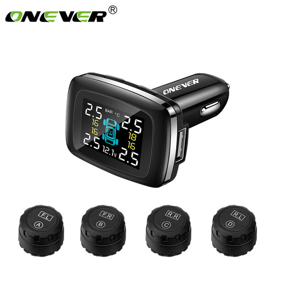 Onever Car TPMS Wireless Digital Tire Pressure Monitoring System with LCD Monitor Auto Security Alarm Systems Tyre Pressure