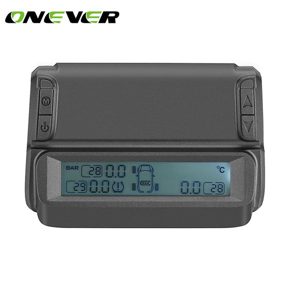 Onever Car TPMS Tyre Pressure Monitoring System Monitor Solar Power charging Real time Digital Display Alarm with 4 Sensors