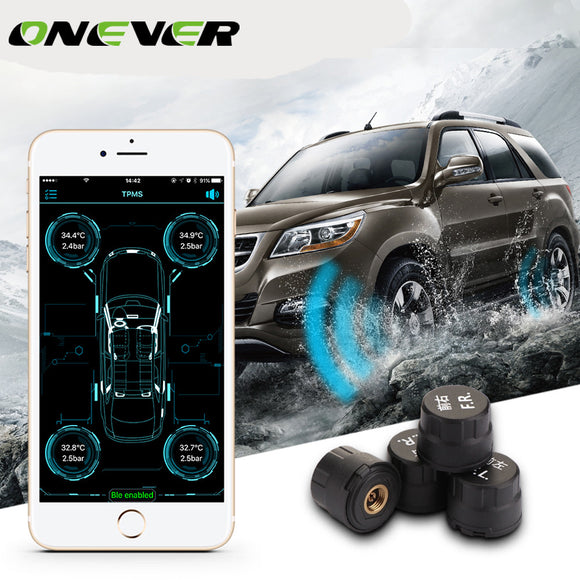 Onever Smart Car TPMS Bluetooth 4.0 Tire Pressure Monitoring System APP Display 4 External Sensors Support for Android for IOS