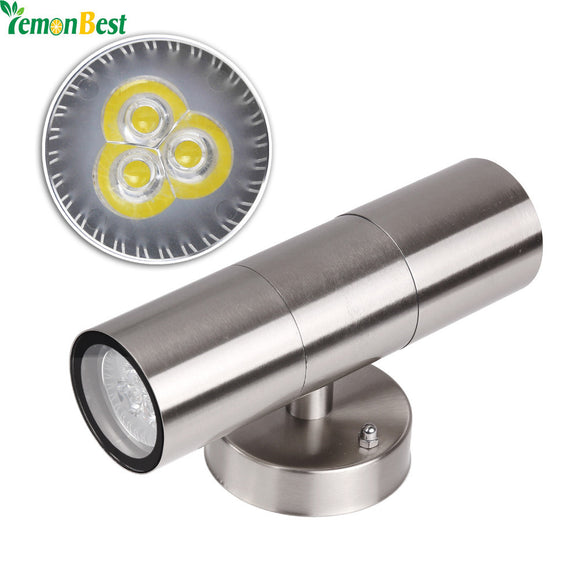 Indoor Outdoor Waterproof IP65 LED Wall Light Stainless Steel Up Down GU10 Double Wall Lamp AC 85-265V 110v 220v 240v warm cold