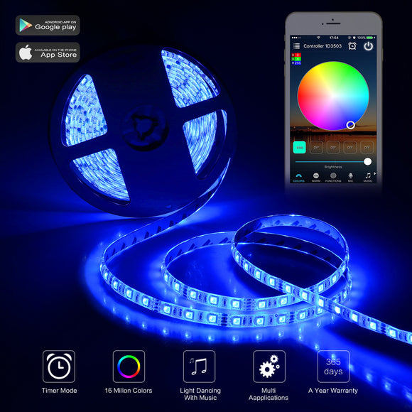 5m RGB 300-LED WiFi Strip Light Kit Waterproof IP65 Smart Phone APP&IR Remote Control for Android for IOS Christmas Decoration