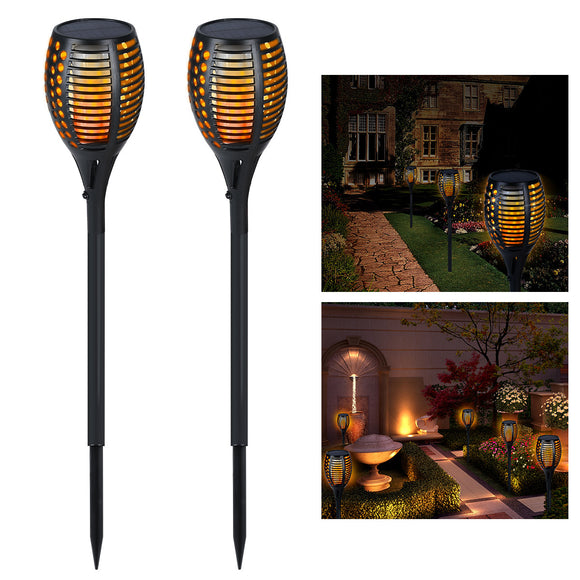 YUNLIGHTS 2pcs Solar Lights Waterproof Flickering Flames Torches Lights 1700-1900K Outdoor Landscape Decoration Lighting Dusk to Dawn Auto On/Off Security Torch Light for Garden Patio Deck Yard Driveway