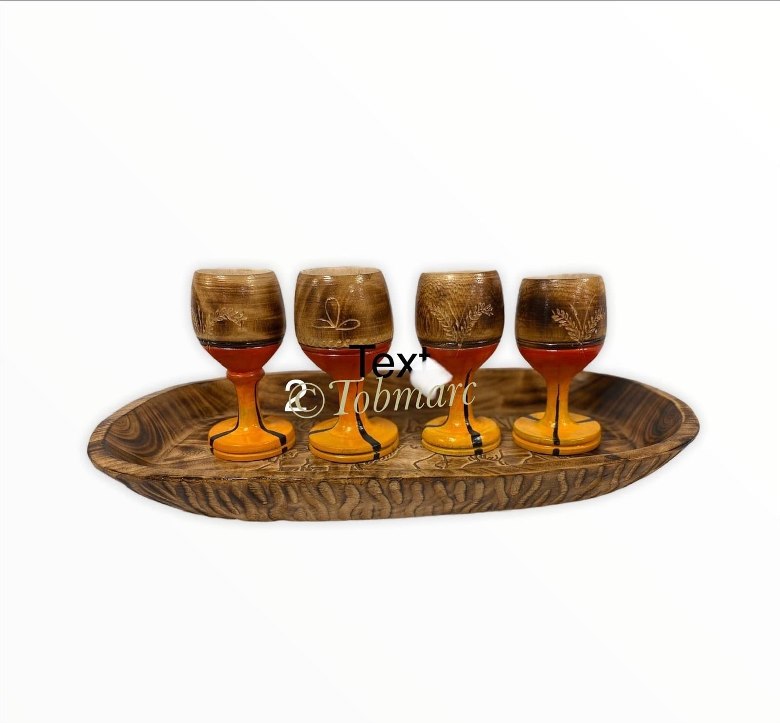 Personalized Animal Wooden Painted Wine Glasses Hakuna Matata Tray Tobmarc Home Decor Gifts