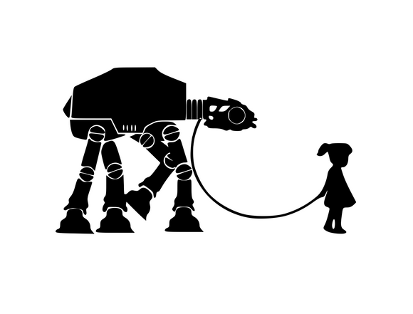 Star Wars Inspired | Girl Walking AT AT Walker  Digital DXF | PNG | SVG Files!