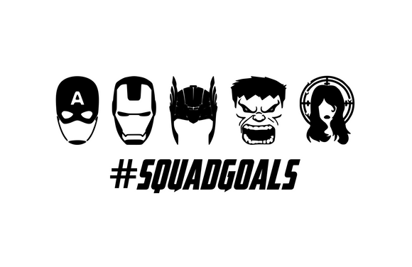 Squad Goals (Captain America, Iron Man, Thor, Hulk, Black Widow) Digital DXF | PNG | SVG Files!