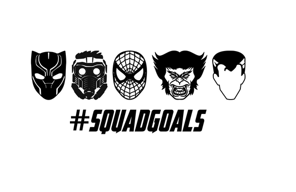 Squad Goals (Black Panther, Star Lord, Spiderman, Beast, Dr. Strange) Digital DXF | PNG | SVG Files!