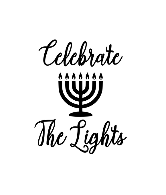 Hanukkah | Celebrate the Lights (Cursive, Style 2) Digital DXF | PNG | SVG Files!