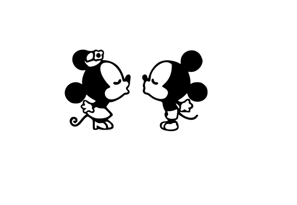 Mickey & Minnie Kiss Kiss Digital DXF | PNG | SVG Files!