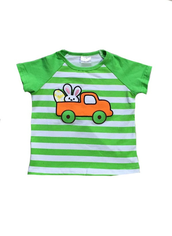 Boys Green and White Stripe Bunny Shirt