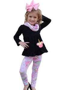 Girls Black Flare Top with Unicorn Printed Leggings
