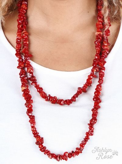 Rock Steady Red Natural Stone Double Wrap Necklace