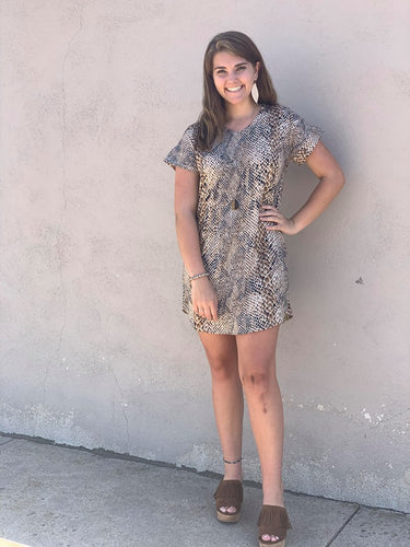 Women's Brown and Cream Snake Skin Dress