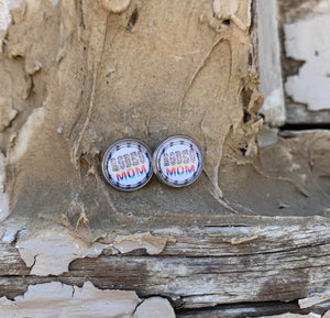 Rodeo Mom Leopard/Serape Silver Druzy Stud Earrings