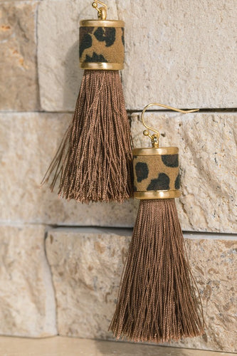Leopard/Brown Threaded Tassel Earrings